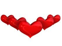 πέντε καρδιές πέρα από το λευκό Στοκ Εικόνες