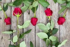 Πέντε κόκκινα τριαντάφυλλα στο ξύλινο υπόβαθρο Στοκ Εικόνες
