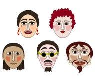 Πέντε μάσκες Στοκ Φωτογραφίες