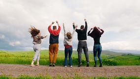 Πέντε νέοι φίλοι πηδούν τα χέρια εκμετάλλευσης σε έναν πράσινο τομέα απόθεμα βίντεο