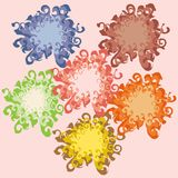 Πέντε πολυ χρωματισμένα σχέδια των λουλουδιών ελεύθερη απεικόνιση δικαιώματος