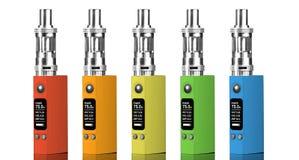 Πέντε πολύχρωμα ηλεκτρονικά τσιγάρα Στοκ Εικόνες