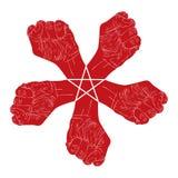 Πέντε πυγμές αφαιρούν το σύμβολο με το αστέρι πέντε σημείου, γραπτό Στοκ Εικόνες