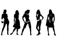 Πέντε σκιαγραφίες κοριτσιών Διανυσματική απεικόνιση