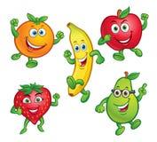 Πέντε χαρακτήρες φρούτων κινούμενων σχεδίων διασκέδασης Στοκ Εικόνα