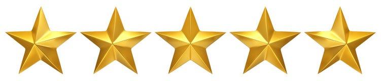 Πέντε χρυσά αστέρια, καλύτερη εκτίμηση ελεύθερη απεικόνιση δικαιώματος