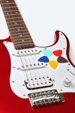 Πέντε χρωμάτισαν τις επιλογές σε μια κιθάρα Στοκ Εικόνα