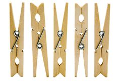 Πέντε clothespins Στοκ Φωτογραφία