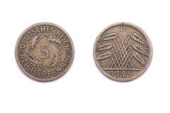 Πέντε Pfennig νόμισμα από τη Γερμανία 1925 Στοκ φωτογραφία με δικαίωμα ελεύθερης χρήσης