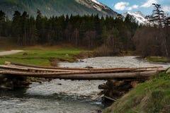 Πέρασμα από το κούτσουρο μέσω του ποταμού βουνών Στοκ φωτογραφία με δικαίωμα ελεύθερης χρήσης