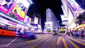 Πέρασμα κόλπων υπερυψωμένων μονοπατιών. Νύχτα Timelapse Χονγκ Κονγκ. φιλμ μικρού μήκους