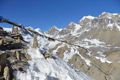 Πέρασμα Λα Thorung περιοχής Annapurna, βουνά του Ιμαλαίαυ, Νεπάλ Στοκ Εικόνες
