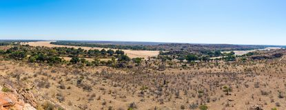 Πέρασμα ποταμών το τοπίο ερήμων του εθνικού πάρκου Mapungubwe, προορισμός ταξιδιού στη Νότια Αφρική Πλεγμένη ακακία και τεράστιο  στοκ εικόνα