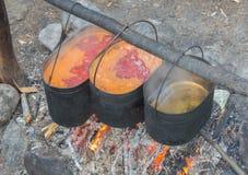 Πέρα από τις κατσαρόλες ταξιδιού πυρκαγιάς με τα τρόφιμα Στοκ Εικόνα