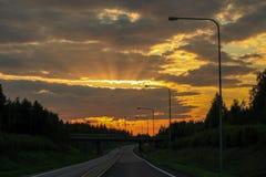 πέρα από το οδικό ηλιοβασί&lam Στοκ Εικόνες