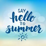 Πέστε γειά σου στο καλοκαίρι - κάρτα με συρμένη τη χέρι εγγραφή βουρτσών διανυσματική απεικόνιση