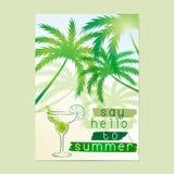 Πέστε γειά σου στο καλοκαίρι Τυπογραφική αφίσα ελεύθερη απεικόνιση δικαιώματος