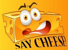 Πέστε την έκφραση τυριών σε κίτρινο απεικόνιση αποθεμάτων