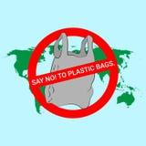 Πέστε το αριθ. στην αφίσα πλαστικών τσαντών διανυσματική απεικόνιση