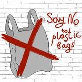 Πέστε το αριθ. στην αφίσα πλαστικών τσαντών απεικόνιση αποθεμάτων