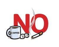 Πέστε το αριθ. στις κακές συνήθειες Καφεΐνη, σάκχαρα και κατάχρηση καπνίσματος Επίπεδη διανυσματική απεικόνιση η ανασκόπηση απομό απεικόνιση αποθεμάτων
