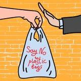 Πέστε το αριθ. στις πλαστικές τσάντες στην αφίσα υποβάθρου τούβλου απεικόνιση αποθεμάτων