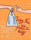 Πέστε το αριθ. στις πλαστικές τσάντες στην αφίσα υποβάθρου τούβλου διανυσματική απεικόνιση