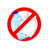 Πέστε το αριθ. στο πλαστικό σημάδι με το πλαστικό μπουκάλι και τη πλαστική τσάντα στον κόκκινο κύκλο στάσεων απεικόνιση αποθεμάτων