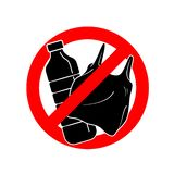 Πέστε το αριθ. στο πλαστικό σημάδι με το πλαστικό μπουκάλι και τη πλαστική τσάντα στον κόκκινο κύκλο στάσεων ελεύθερη απεικόνιση δικαιώματος