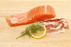 Πέστροφα και pancetta θάλασσας Στοκ εικόνα με δικαίωμα ελεύθερης χρήσης
