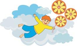 πέταγμα αγοριών μπαλονιών απεικόνιση αποθεμάτων