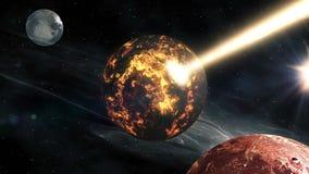 Πέταγμα μέσω των τομέων αστεριών στο διάστημα κοντά στον πλανήτη φιλμ μικρού μήκους