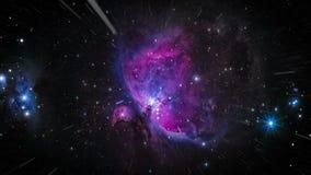 Πέταγμα μέσω των τομέων αστεριών στο διάστημα πορφυρός διανυσματική απεικόνιση