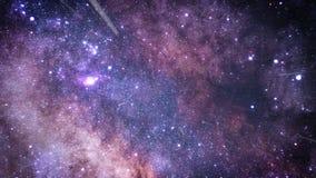 Πέταγμα μέσω των τομέων αστεριών στο διάστημα πορφυρός ελεύθερη απεικόνιση δικαιώματος