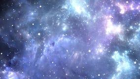 Πέταγμα μέσω των τομέων νεφελώματος και αστεριών στο βαθύ διάστημα