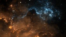 Πέταγμα μέσω των τομέων νεφελώματος και αστεριών στο βαθύ διάστημα ελεύθερη απεικόνιση δικαιώματος