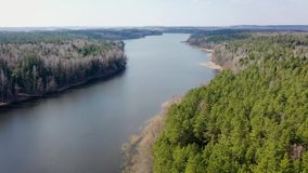 Πέταγμα πέρα από έναν όμορφο ευρύ ποταμό και πράσινος με το γκρίζο δάσ απόθεμα βίντεο