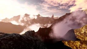 Πέταγμα πέρα από τα βουνά στην ομίχλη απόθεμα βίντεο