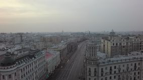 Πέταγμα πέρα από την πόλη της Μόσχας απόθεμα βίντεο
