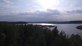 Πέταγμα πέρα από τη λίμνη και τη δασική εναέρια έρευνα απόθεμα βίντεο
