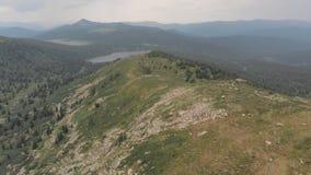 Πέταγμα πέρα από το φαράγγι βουνών κοντά στο ίχνος τουριστών στο σιβηρικό πάρκο φύσης Ergaki Πυροβολισμός κηφήνων φιλμ μικρού μήκους