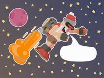 Πέταγμα στη διαστημική διανυσματική απεικόνιση Santa διανυσματική απεικόνιση