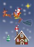 Πέταγμα santa Χριστουγέννων Στοκ Εικόνες