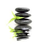 Πέτρα της Zen με το φύλλο μπαμπού Στοκ Εικόνες