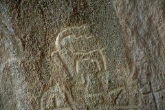 Πέτρα Gobustan με την αγελάδα Στοκ φωτογραφίες με δικαίωμα ελεύθερης χρήσης