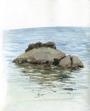 Πέτρες και νερό θάλασσας Watercolor Στοκ Φωτογραφίες