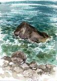 Πέτρες και νερό θάλασσας Watercolor Στοκ φωτογραφία με δικαίωμα ελεύθερης χρήσης
