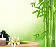 Πέτρες, κερί, λουλούδι και μπαμπού στον πίνακα Στοκ φωτογραφίες με δικαίωμα ελεύθερης χρήσης