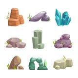 Πέτρες κινούμενων σχεδίων και προτερήματα βράχων καθορισμένα Στοκ φωτογραφία με δικαίωμα ελεύθερης χρήσης