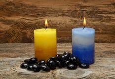 Πέτρες της Zen και αρωματικά κεριά Στοκ Φωτογραφία